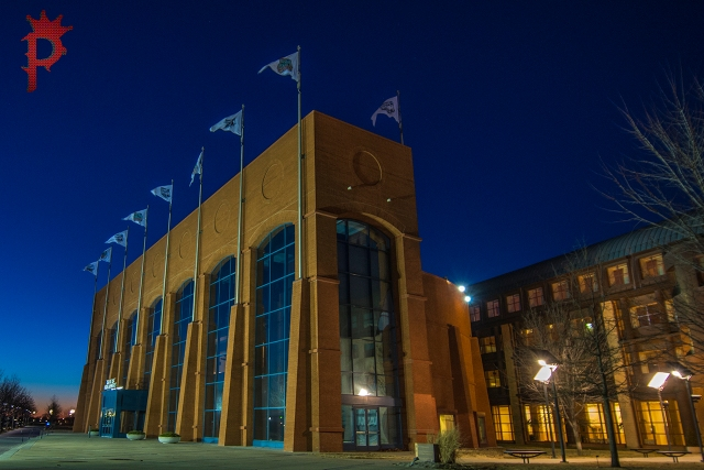 NCAA Hall of Champions during Blue Hour Sunset 2014.