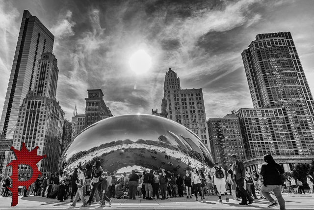 "The ""BEAN"" in Millenium Park Downtown Chicago with Skyline"